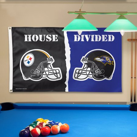 Pittsburgh Steelers vs Baltimore Ravens WinCraft Deluxe 3' x 5' House Divided Flag - No - Steelers Decor
