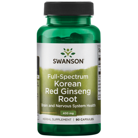 40 Mg 90 Capsules - Swanson Full Spectrum Korean Red Ginseng Root Capsules, 400 mg, 90 Ct