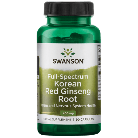 Swanson Full Spectrum Korean Red Ginseng Root Capsules, 400 mg, 90