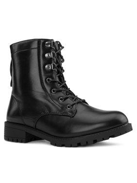 """Wide Width"" Women's Adjustable Wide Ankle Lug Sole Combat Boots w Hidden Pocket - Plus Size Friendly #19145"