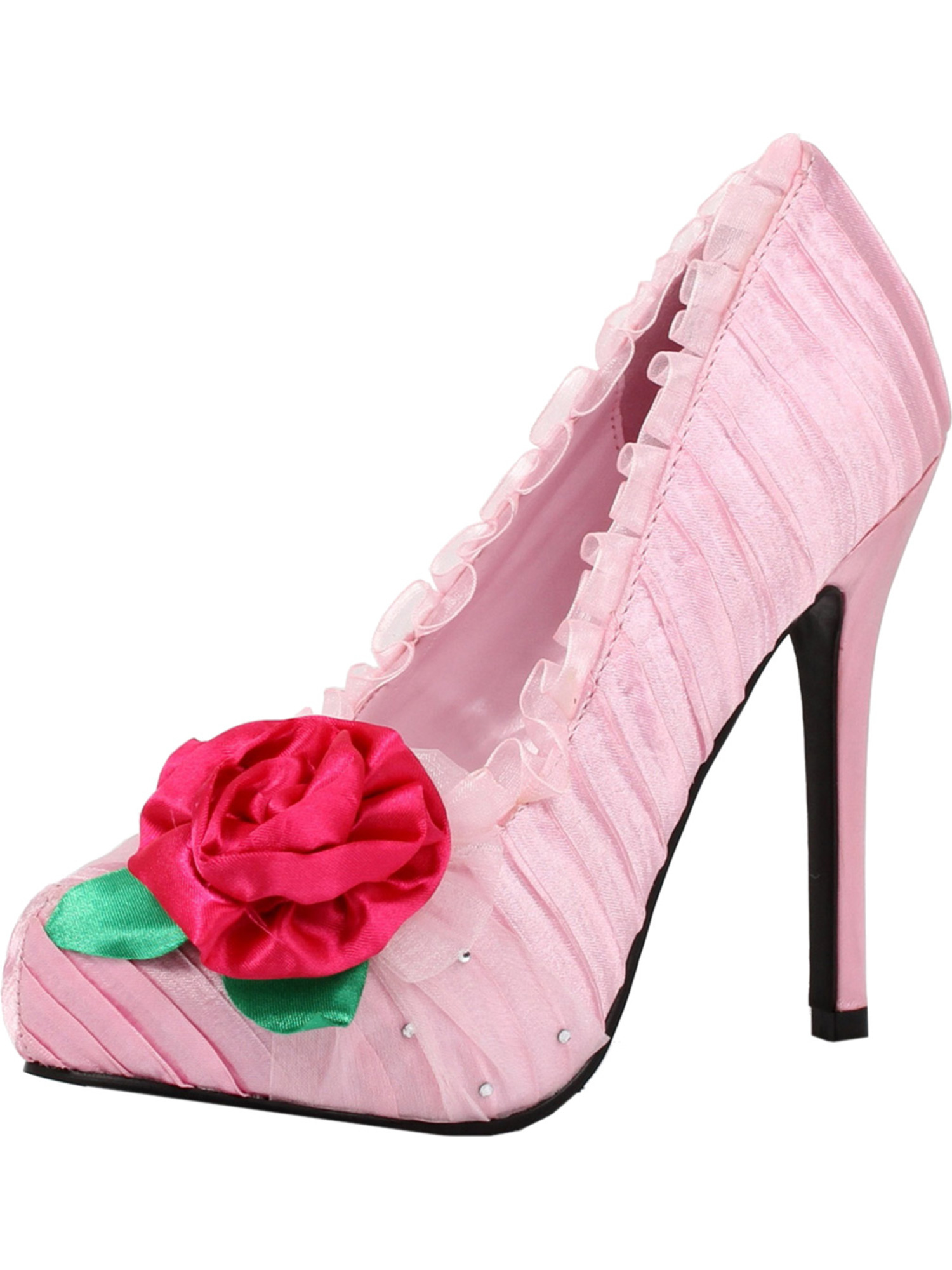 181a8be57cf Pale Pink Pumps with Hot Pink Flower and Rhinestone Detail Women's 5 Inch  Heels
