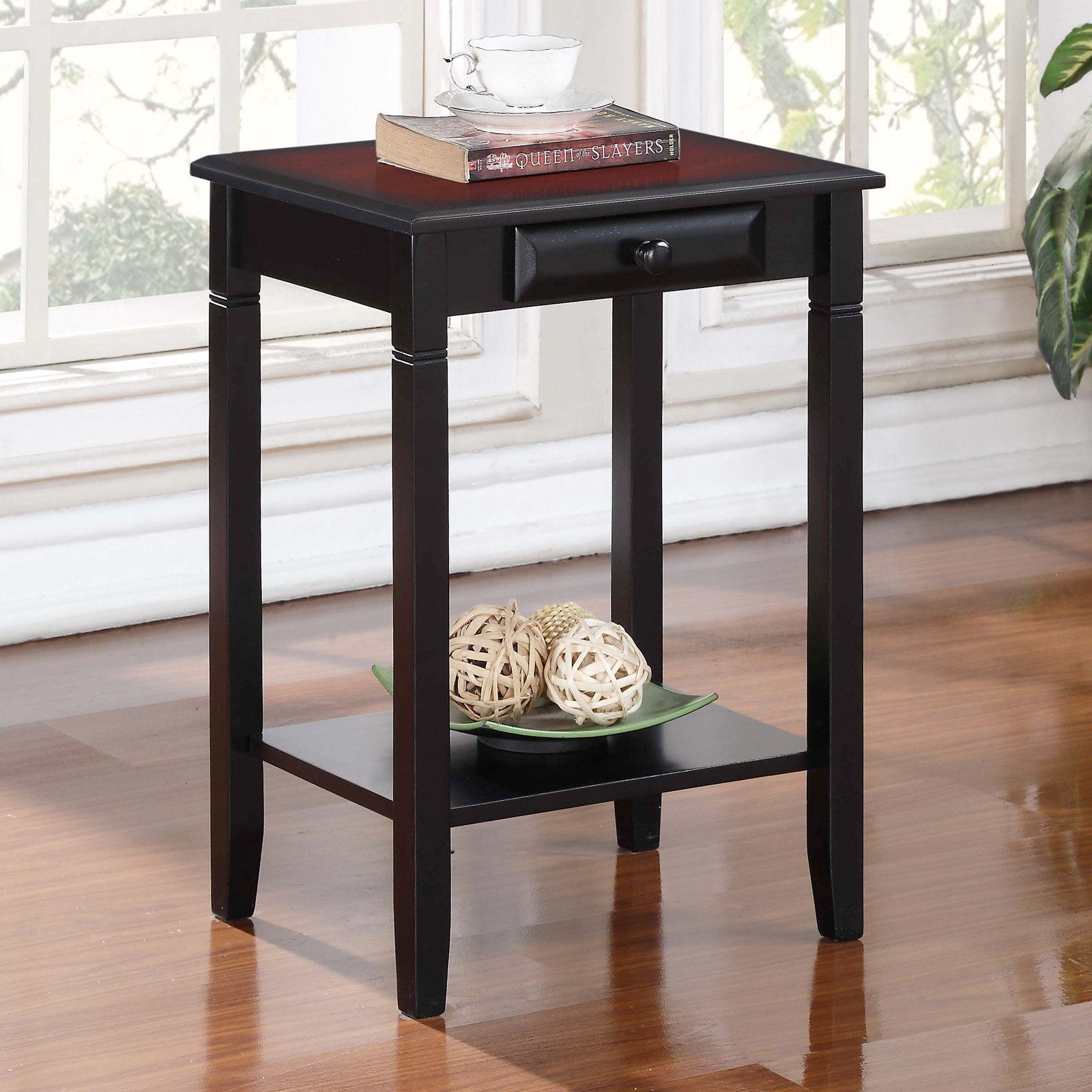 Linon Home Decor Camden Accent Table, Black Cherry