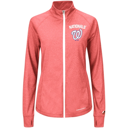 Washington Nationals Majestic Women's Count the Wins Therma Base Full-Zip Jacket Red by MAJESTIC LSG