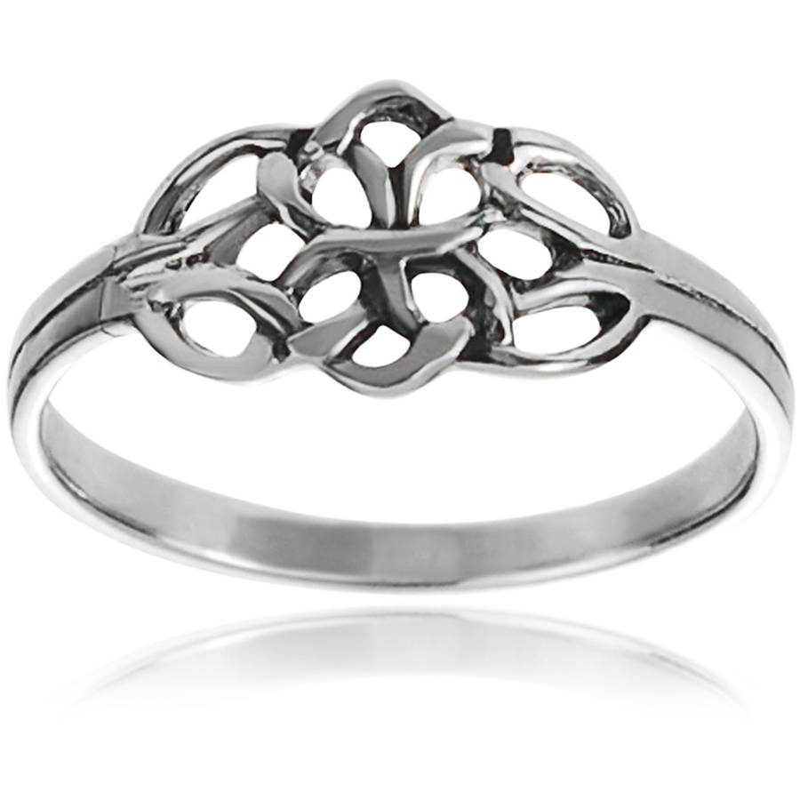 Brinley Co. Women's Sterling Silver Celtic Double Knot Fashion Ring