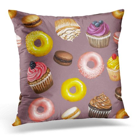 ARHOME Yellow and Pink Doughnuts Chocolate Strawberry and Caramel Macarons and Colorful Cupcakes Pillow Case Pillow Cover 18x18 inch