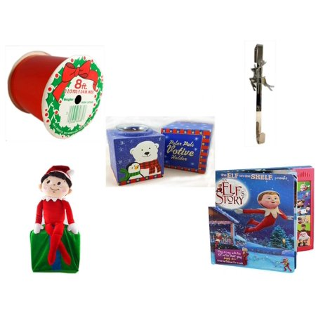 Christmas Fun Gift Bundle [5 Piece] - Wrights Indoor/Outdoor Red Ribbon 2-3/4