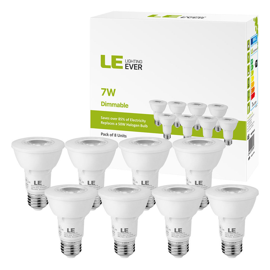 Lighting EVER 8 x PAR20 LED Bulb 50W Equivalent Flood Light Bulbs 5000K Daylight Dimmable