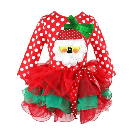 Childrens Santa Outfits (Toddler Baby Girl Santa Romper Sequined Tutu Dress Outfit)