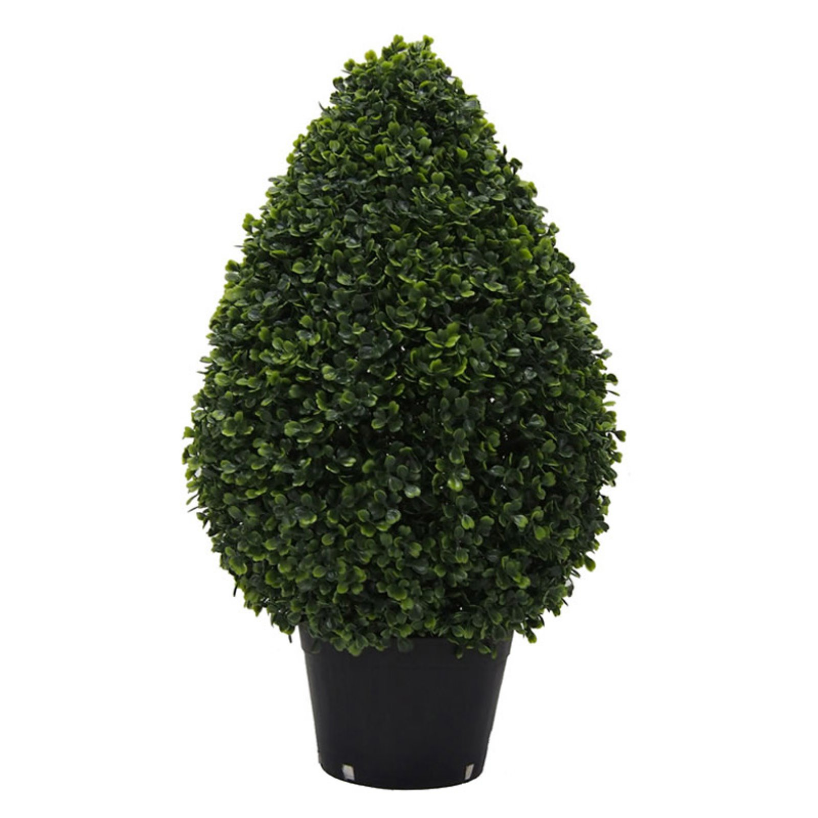 "Vickerman 24"" x 15"" Boxwood Teardrop Shaped Bush in a Black Planters Pot, UV-Resistant"