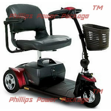 (Pride Mobility - Go-Go Elite Traveller Plus - Travel Scooter - 3-Wheel - Red - PHILLIPS POWER PACKAGE TM)