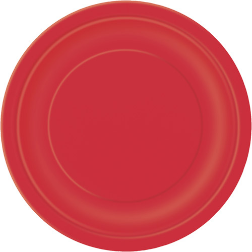 "7"" Red Dessert Plates, 24 Count"