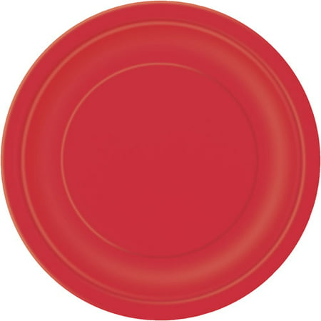 """7"""" Red Dessert Plates, 24 Count"""