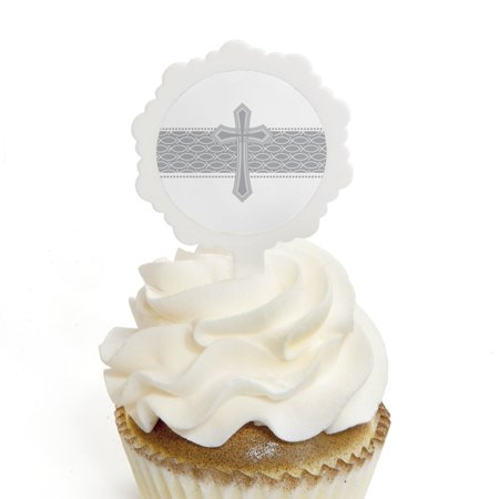 Delicate Blessings Cross - Cupcake Picks with Stickers - Baptism Cupcake Toppers - 12 Count (Baptism Cupcake Toppers)
