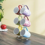 6-Piece Mug Set with Stand, Floral