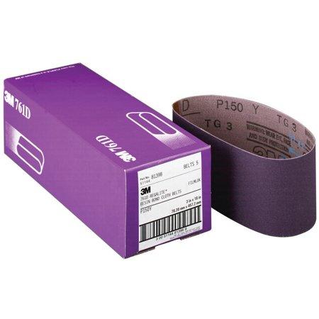 3M 761D Resin Bond Power Sanding Belt, 21 in x 3 in, P80 Grit