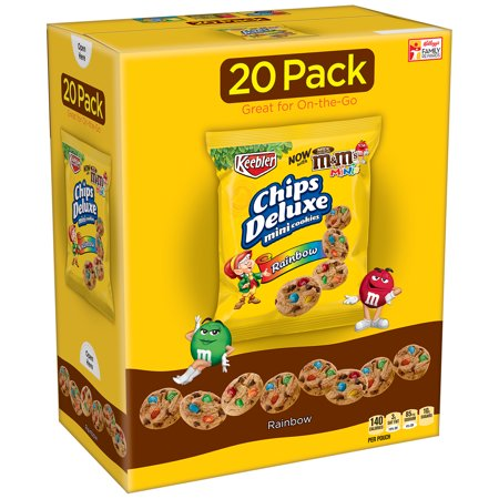 Keebler Chips Deluxe Mini Rainbow Cookies with M&M's Minis, 1 Oz., 20 Count - Halloween M&m Cookies