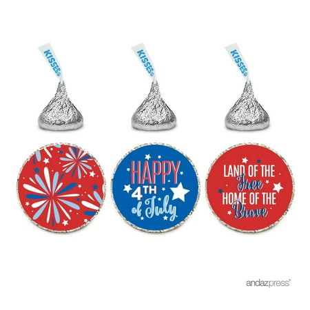 Chocolate Drop Labels Trio, Fits Hershey's Kisses Party Favors, Happy 4th of July!, 216-Pack, Envelope Seals Stickers (4th Of July Party Favors)