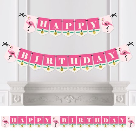 Flamingo - Party Like a Pineapple - Birthday Party Bunting Banner - Pink Party Decorations - Happy Birthday for $<!---->