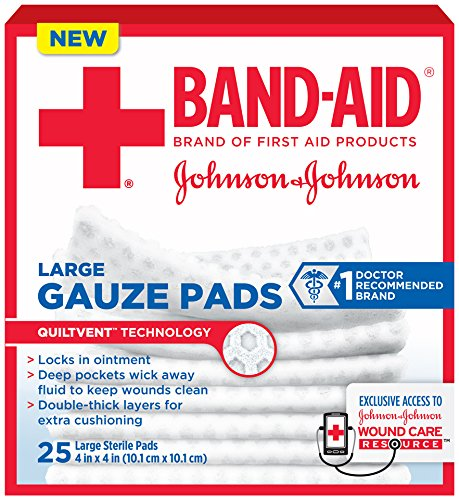 24 PACKS : Band-Aid First Aid Large Gauze Pads, 4 In X 4 In, 25 Count