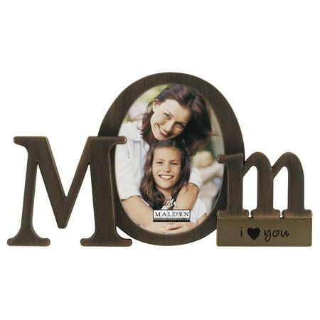 Malden International Designs Bronze Script Mom Picture Frame, 3.5x4.5, (Worlds Best Mom Photo Frame)