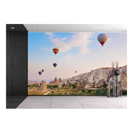 144 Mm To Inches (wall26 - Hot Air Balloon Flying Over Rock Landscape at Cappadocia Turkey - Removable Wall Mural | Self-Adhesive Large Wallpaper - 100x144)