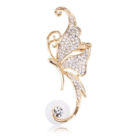 - Rhinestone Crystal Butterfly Clip On Ear Cuff 16K Gold Plated