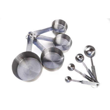 Stainless Steel Measuring Cups and Measuring Spoons 8-piece Set by Kitchen Winners