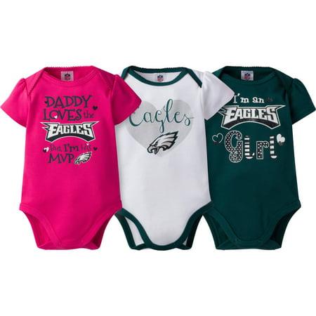 1e6e8fa1e NFL Philadelphia Eagles Baby Girls Short Sleeve Bodysuit Set