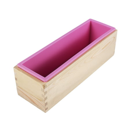 Qiilu Rectangle Silicone Liner Soap Mould Wooden Box Diy Making Tool Bake Cake Bread Toast Mold