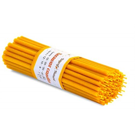 50 Natural 100% Pure Beeswax Taper Candles ( 6