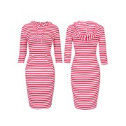 Women's Plus Size Hoodie Dress 3/4 Sleeve Casual Stripe Pullover Sweater Tunic with Kangaroo Pocket Holidays Lounge Office Overall Dress Work Wear Womens Plus Dresses