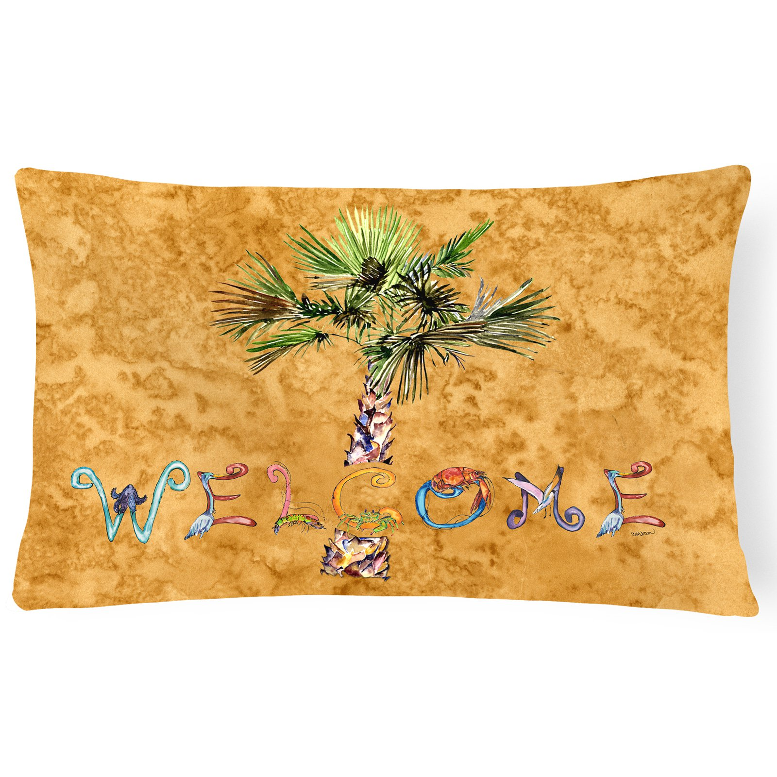 Welcome Palm Tree on Teal Canvas Fabric Decorative Pillow