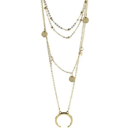 Gold Tone Multi Layered Lunar Eclipse Necklace