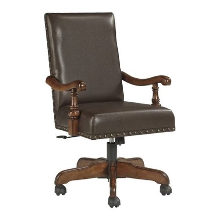 Ashley Gaylon Faux Leather Adjustable Swivel Office Chair In Brown