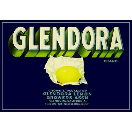 Glendora Los Angeles County Lemon Citrus Fruit Crate Box Label Vintage Art Print