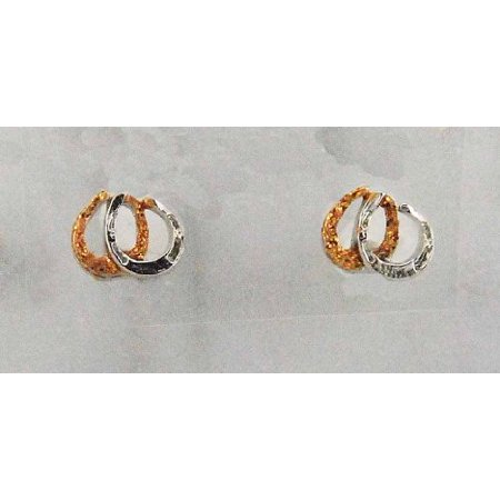 "Finishing Touch Small 1/4"" Double Horseshoe Earring, Imitation Rhodium Plate"