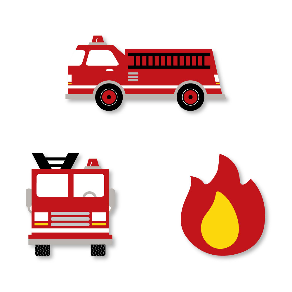 Fired Up Fire Truck - DIY Shaped Firefighter Firetruck Baby Shower or Birthday Party Cut-Outs - 24 Count