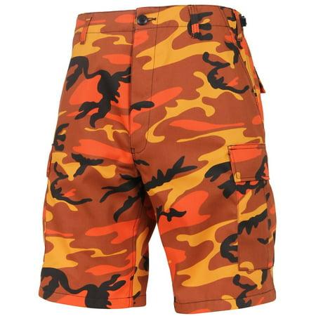 Camo Army Cargo Bdu Shorts - Rothco Colored Camo BDU Shorts - Savage Orange Camo, Medium