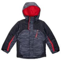Arctic Quest Boy's Spacedye Windproof Waterproof Winter Ski Jacket - Size 14-16, Black/Red