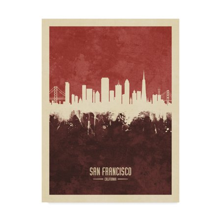 Trademark Fine Art 'San Francisco California Skyline Red II' Canvas Art by Michael