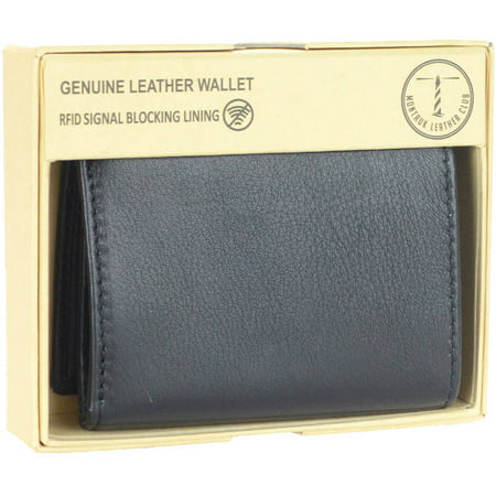 Men's RFID Signal Blocking Genuine Leather Trifold Wallet with Gift Box