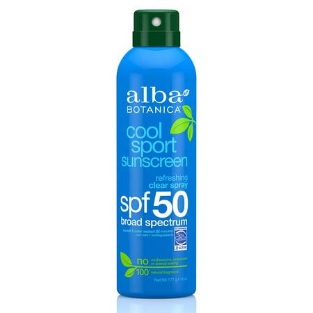 Alba Botanica Cool Sport Sunscreen Refreshing Clear Spray SPF 50, 6 Fl Oz (Cool Sun)