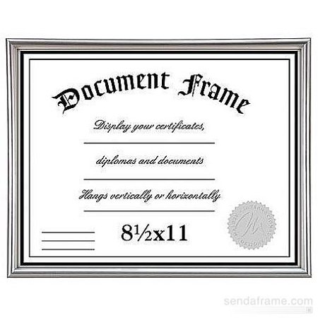 Contemporary Platinum Silver certificate frame in ABS resin