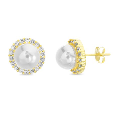 Inspired by You Round Simulated Pearl and Cubic Zirconia Stud Bridal Halo Earring for Women in Yellow Gold Plated 925 Sterling Silver
