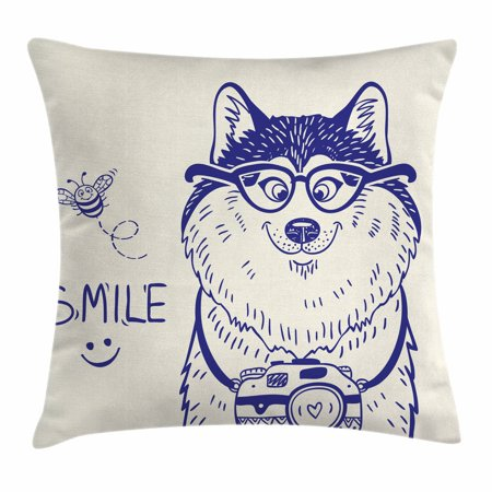 Alaskan Malamute Throw Pillow Cushion Cover, Cartoon Style Smart Puppy with Glasses Photo Camera and Bee Smile Doodle, Decorative Square Accent Pillow Case, 18 X 18 Inches, Blue White, by Ambesonne 18' Real Photo Pillows