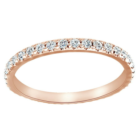 Round Cut White Natural Diamond Half Eternity Anniversary Band Ring In 14K Solid Rose Gold  0 62 Ct  By Jewel Zone Us