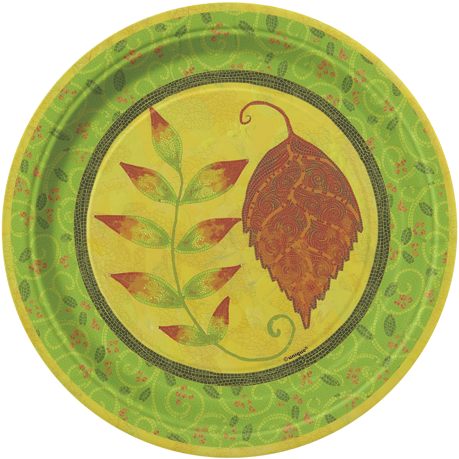 "Thanksgiving Tableware 8 Pack 7"" Dessert Plates Yellow Brown"