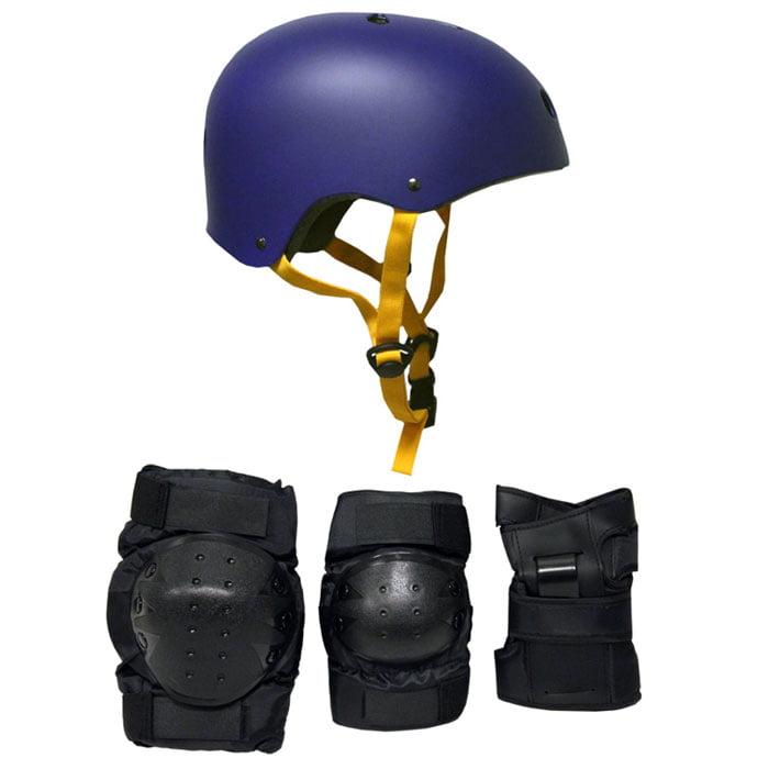 Skateboard Helmet Elbow Knee Wrist Pad Combo MEDIUM Bmx Inline NAVY BLUE by