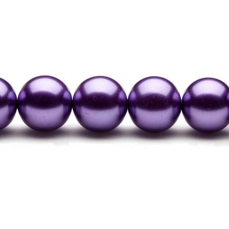 16mm Round Cream-Tone Fandango Purple Glass Pearls 16Inch Sting 26-Bead Count