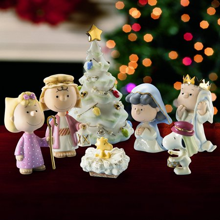 Lenox Peanuts The Christmas Pageant Nativity Scene Christmas Figurine Set of 7](Christmas Nativity Set)